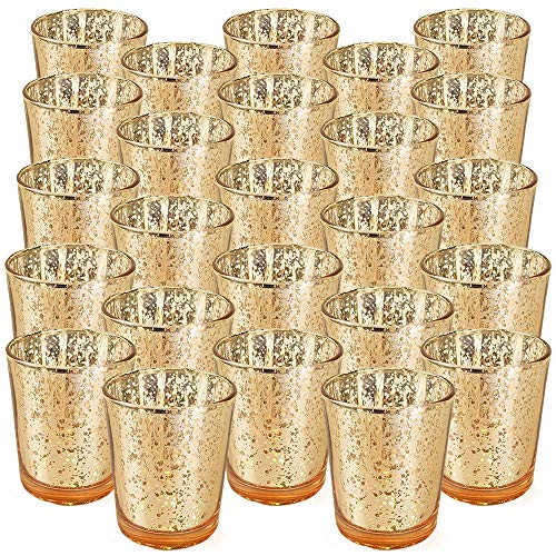 Just Artifacts 2.75-Inch Speckled Mercury Glass Votive Candle Holders (25pcs, Gold)