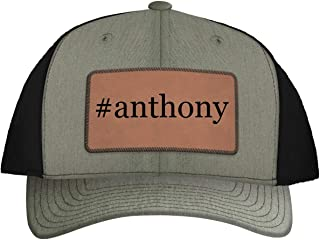 One Legging it Around #Anthony - Leather Hashtag Dark Brown Patch Engraved Trucker Hat