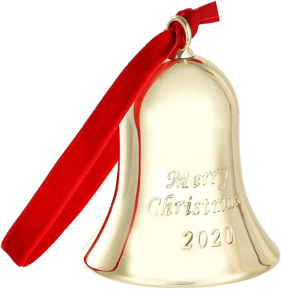 Engraved Merry Christmas 2020 Annual Christmas Bell Ornament for Christmas DAJAMAI 2 Pack Christmas Bell Ornament Metal Bell with Gift Box and Red Ribbon for Christmas Tree Decor