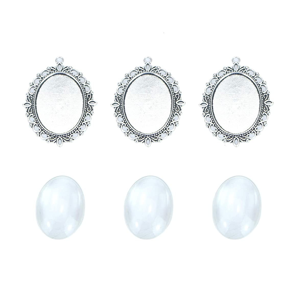 Monrocco 10Set 40x30mm Vintage Tibetan Style Alloy Oval Pendant Cabochon Bezel Settings with Clear Glass Dome Tile Jewelry Making DIY Findings
