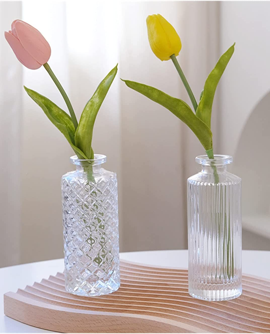 2 Pack European Embossed Clear Vas Small Flower Glass Tampa Mall Vase Ranking TOP3