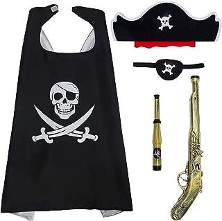 Cosweet Kids Pirate Costume- Pirate Role Play Cape Mask Telescope Gun Halloween Black