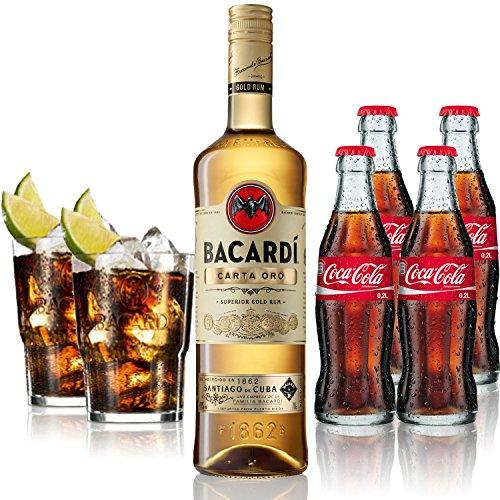 Cuba Libre Set - Bacardi Carta Oro Gold Rum 1L (40% Vol) + 4x Coca Cola 0,2L + 2x Bacardi Glas Gläser 2/4cl geeicht - Inkl. Pfand MEHRWEG