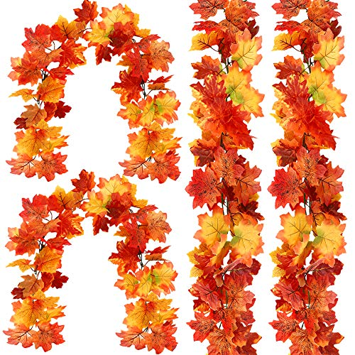 FUNARTY 4 Pack Fall Garland Autumn Maple Garland for Decorating Weddings, Festivals, Dinners, Halloween and Thanksgiving(Colorful)