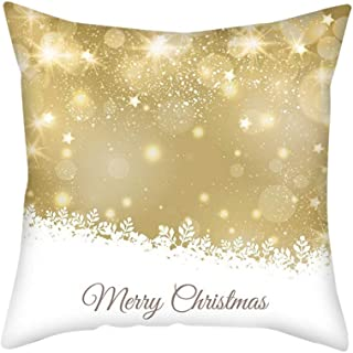 JustWin Golden Christmas Pillowcase Cushion Cover Home Decoration Christmas Pillow Cases 45X45cm