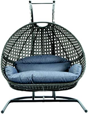 Amazon Com Leihua Hanging Egg Chair With Iron Stand 2 Person Heavy Duty Hanging Wicker Rattan Swing Chair Basket Hammock Nest Seat Garden Outdoor