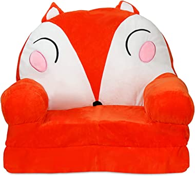 Lzttyee Kids Sofa 2 in 1 Flip Open Sofa for Kids Plush Cartoon Fold Out Backrest Armchair for Playroom Living Room Bedroom (F
