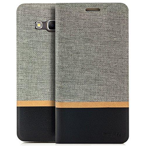 Preisvergleich Produktbild zanasta Tasche kompatibel mit Samsung Galaxy Grand Prime Hülle Flip Case Schutzhülle Handytasche mit Kartenfach Grau