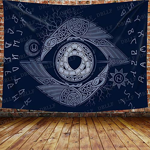 DBLLF Norse Triple Horn of Odin Tapestry, Men's Viking Totem Tapestry Scandinavic Ornaments Runes Mythology Celtic Wall Hanging, Large Flannel Large Art Tapestry for Home Decor 80' x 60' GTZDDB168