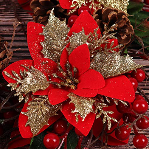 RECUTMS 10 Pcs Red Gold Christmas Glitter Artificial Poinsettia Flowers 6inch Christmas Wreath Christmas Tree Flowers Ornaments Holiday Seasonal Decorations (Red+Gold)