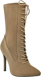 Fashion Thirsty Womens Lace Up High Heel Stiletto Lycra Ankle Boots Size