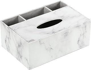 ティッシュケース Luxspireマーブル調 大理石柄 リモコンラック 小物入れ 分格デザイン 多機能卓上収納ケース ティッシュボックス リモコンケース ペン立て おしゃれ マーブルホワイト