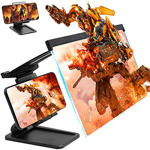 Phone Screen Magnifier with Cell Phone Stand for Desk 12'' 3D HD Phone Screen Amplifier Projector Adjustable Desktop Phone Holder Stand Compatible with iPhone, Switch, iPad, Tablet, All Mobile Phones