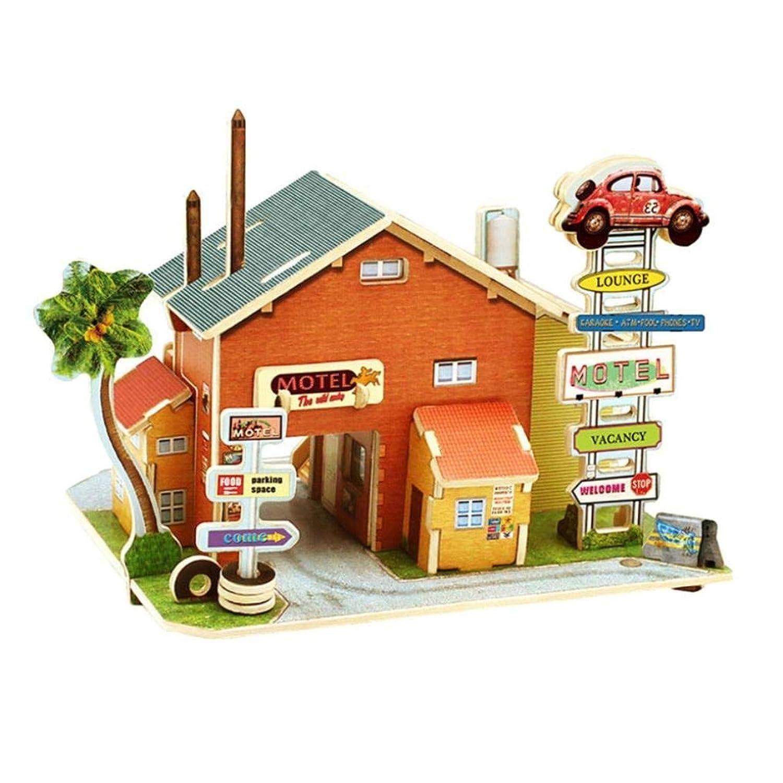 3D木製パズル - DIYミニチュア建築モデルホームクリエイティブジュエリー 木製玩具クラフト クリスマス バレンタインデー 誕生日ギフト (アメリカンモーテル)