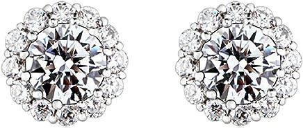 Epinki Stud Earrings for Women Girls Gold Plated Women Stud Earrings White Gold Simple Small Diamond Ring Earrings Birthday 0.9X0.9CM Earrings