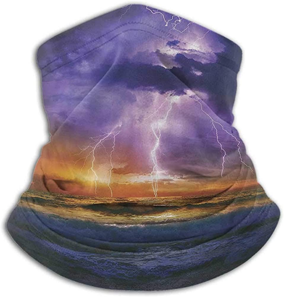 Face Scarf Mask Women Lake House Decor For Dust, Outdoors, Festivals, Sports Epic Lightning And Storm On The Sea Wave Horizon Bad Weather Atmosphere Home Decor Purple Orange