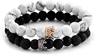 Reizteko Couples His & Hers Bracelet Black Matte Agate & White Howlite 8mm Beads Bracelet Crown Bracelet Friendship Relationship Bracelet (Black & White)