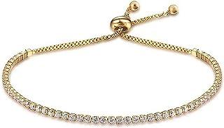 18 قيراط مطلي بالذهب قابل للتعديل سوار تنس زركونيا أساور خلخال للنساء الفتيات
