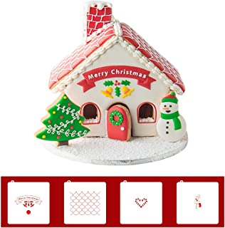Gingerbread House Cookie Cutter with Matching Cookie Stencils -Set of 12-8Pcs Cookie Cutter and 4Pcs Matching Stencils, Include Gingerbread House, Christmas Tree and Snowman