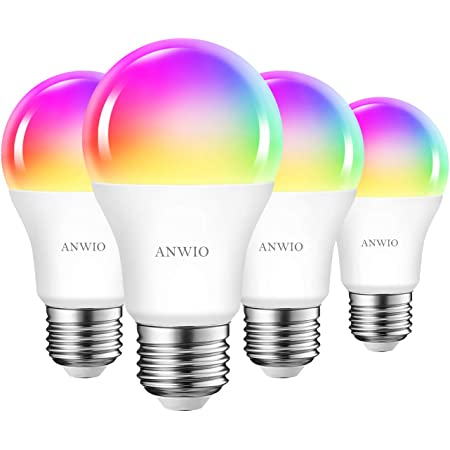 ANWIO 4-Pack Smart Light Bulbs 8.5W (60W Replacement) A19 E26 LED Bulb Work with Alexa, Google Assistant, Smart Life App, Tuya App, Color Changing, No Hub Required