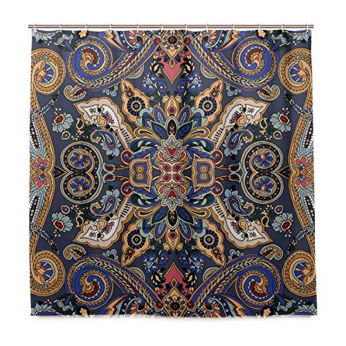 BEITUOLA Duschvorhang,Paisley Marokkanische Blümchen Slawische Effekte Heritage Design Dekoratives Karamellviolett Blau Dunkler Lavendel,Wasserdicht Polyester Textil Stoff Badewannevorhang