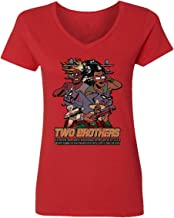 RIVEBELLA New Graphic Tee Rick Morty Shirt Two Brothers Graphic Womens Vneck T-Shirt