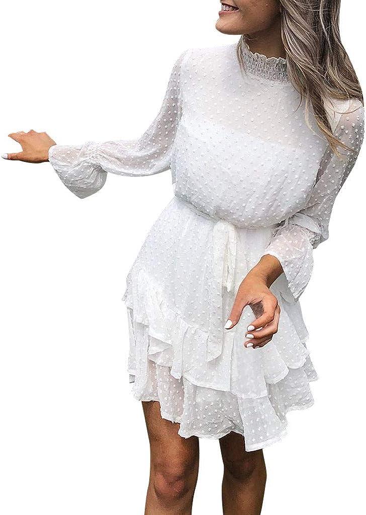 Tulsa Mall Gergeos Dress Women Turtleneck Long Dot Polka Lac Ruffles Max 40% OFF Sleeve