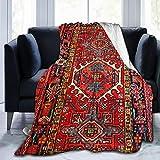 LodiSFOA Iran Persian Carpet Oriental Glam Iranian Ethnic Traditional Tribal Fleece Blanket Throw Lightweight Blanket Super Soft Cozy Bed Warm Blanket for Living Room/Bedroom All Season