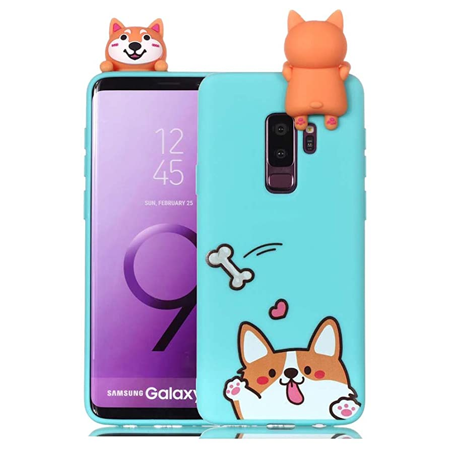 Galaxy S9 PLUS TPU Case Blue Slim Fit 3D Cartoon Protective Case for Samsung Galaxy S9 PLUS Phone Cases Aeeque Flexible Samsung S9 PLUS Cover Soft Silicone Bumper Shell Protector, Corgi Bone