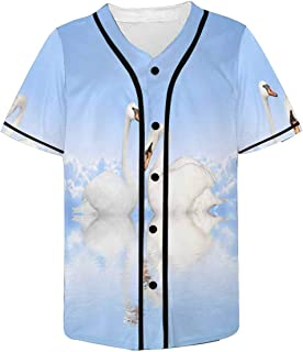 INTERESTPRINT Mens Button Down Baseball Jersey Nebula and Star Field Against Space