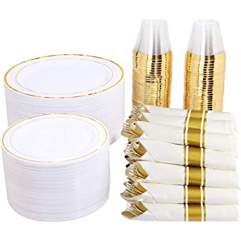 """350 Pieces Gold Plastic Plates with Disposable Silverware and Cups, Include: 50 Dinner Plates 10.25"""", 50 Dessert Plates 7.5"""", 50 Gold Rim Cups 9 OZ, 50 Per Rolled Napkins with Gold Cutlery"""