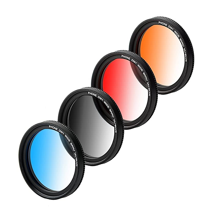 ZOMEI Graduated Lens Filter 37mm Professional 4 Pieces Camera Lens Filter Kit + WINGONEER LED light for iPhone 6S, 6S Plus, Samsung Galaxy, All Smartphones (Graduated Blue/Gray/Orange/Red)