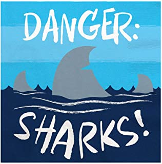 Big Dot of Happiness Shark Zone - Jawsome Shark Viewing Week Party or Birthday Party Cocktail Beverage Napkins (16 Count)