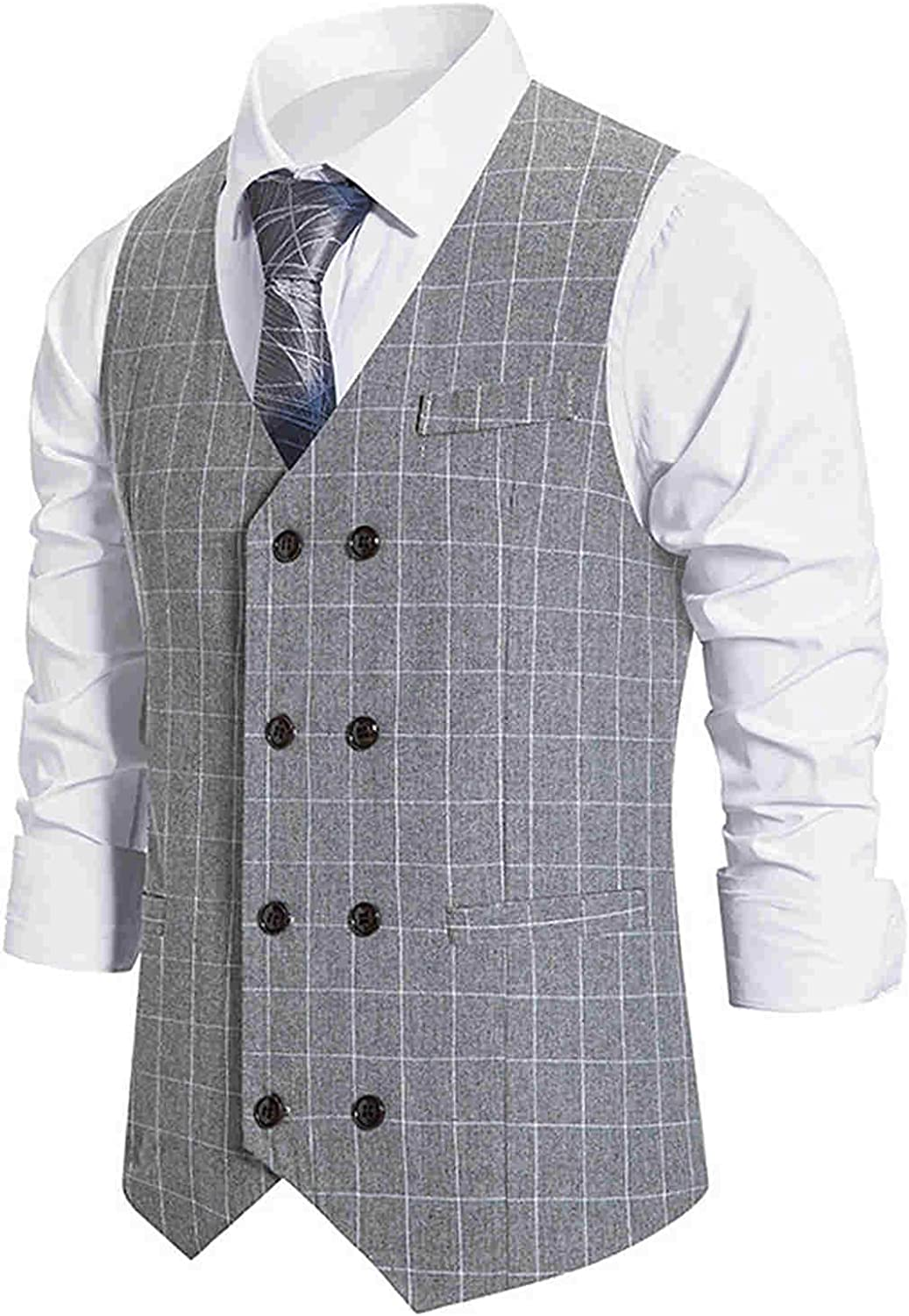 Mens Suit Vest Casual Slim Fit Retro Plaid Single Breasted Waistcoat for Party Wedding Prom Autumn and Winter