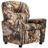 JC Home Contemporary Camouflage Vinyl Kids Recliner with Cup Holder
