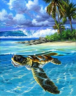 JOLOMOY Paint by Numbers Kits for Adults, DIY Digital Oil Painting by Number for Kids Beginner - Sea Turtle Ocean Waves 16X20 inch Number Painting