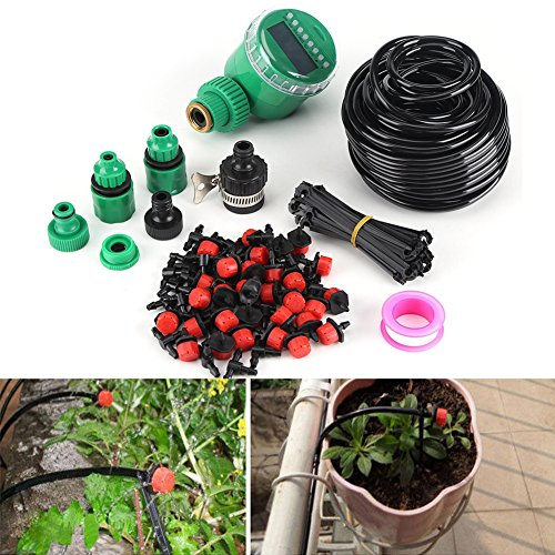 Yencoly Self Watering Irrigation System, 25m Plant Self Watering Garden Hose DIY Micro Drip Irrigation System with Timer Kits Best Garden Hose Micro Drip Irrigation System