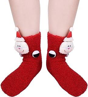 VBIGER, Calcetines de Navidad para Hombres y Mujeres Invierno Calcetines de Piso Vellón de Coral Abrigados