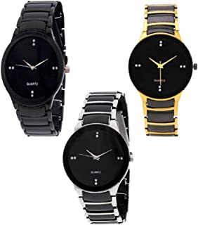 Marclex Quartz Movement Analogue Black Dial Watch for Men and Boys - Combo of 3