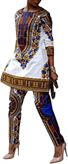 Women African Print Ethnic Dashiki Top Pants Outfit Two 2 Pieces Set