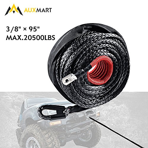AUXMART Synthetic Winch Rope Winch Line Cable 20500LBs Protective Sleeve 95ft x 3/8' for ATV UTV SUV Truck Boat Ramsey