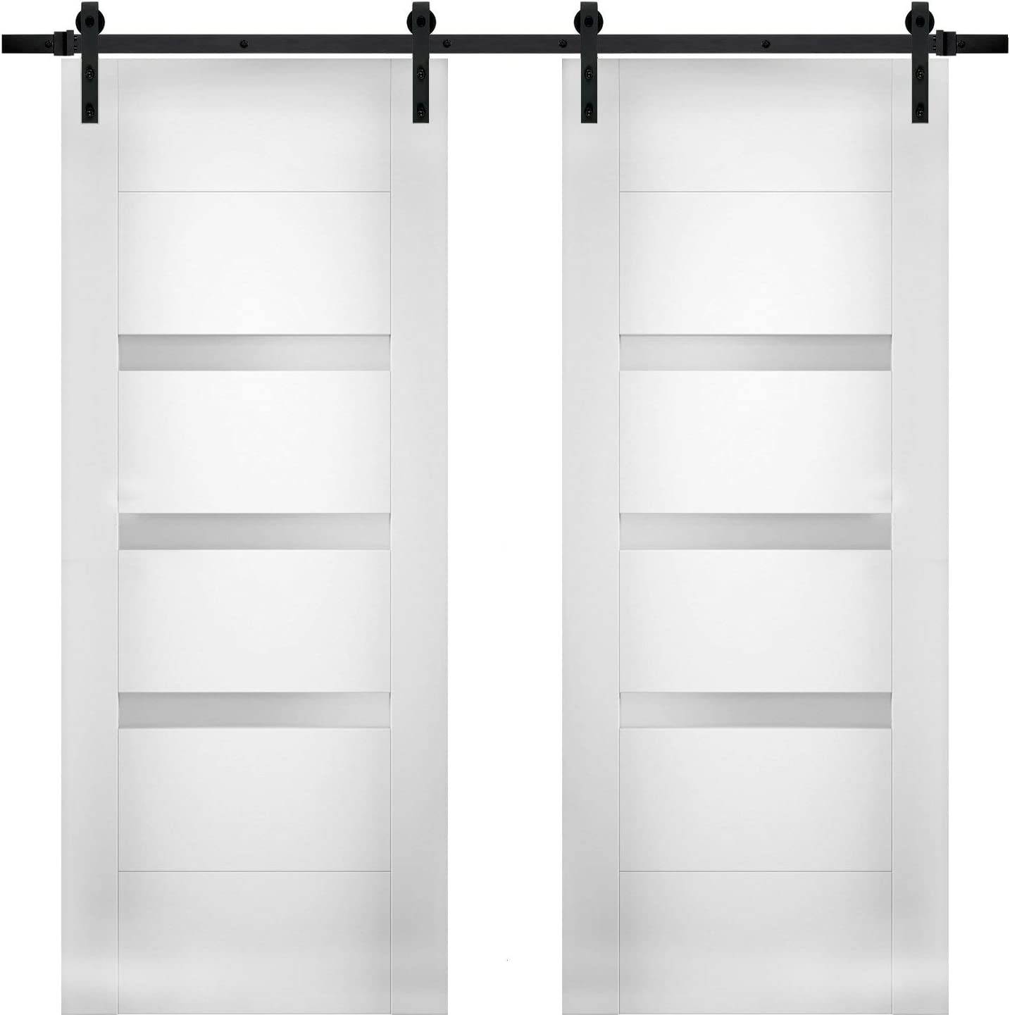 Modern Double Barn Door 48 x inches with Sete Mesa free Mall Glass Opaque 96