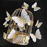 FGHHT 12 unids/Set Ambilight 3D Mariposa Pegatina de Pared Mariposas decoración del hogar decoración de la habitación imán de Nevera Pegatinas de Pared para Boda