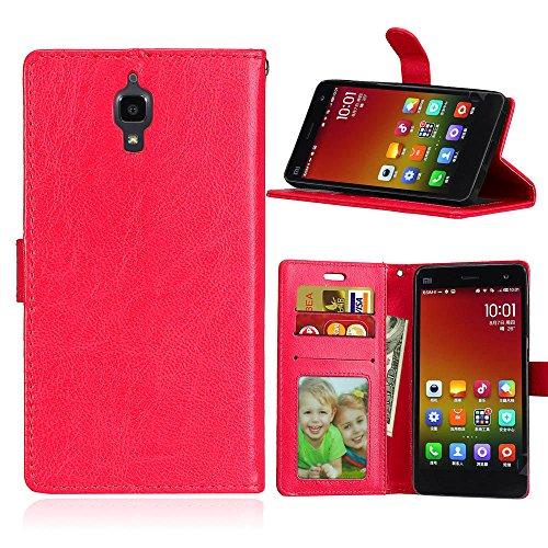 Funda Xiaomi 4 Xiao Mi 4 MI4 M4 ,Bookstyle 3 Card Slot PU Cuero cartera para TPU Silicone Case Cover-Rojo