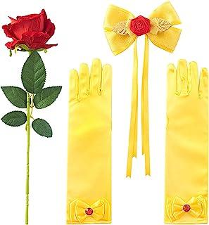 لوازم جانبی لباس شاهزاده خانم JiaDuo لباس هالووین لباس آرایش ، دستکش و گل گل رز زرد