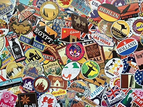 Surtido de pegatinas viajes, recuerdos, país, estilo vintage, retro, vinilo stickers set travel, ciudades, mundo, capital, para equipaje, autocaravana, coche, maleta, álbum de fotos, ordenador