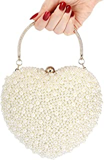 ZZZ GG Evening Bag - Women Heart-shaped Pearl Handbag Fashion Party Bridal Clutch Bag Purse Shoulder Crossbody Bag Makeup Bag With Detachable Chain Strap, 17 * 18 * 10CM fashion (Color : Beige)