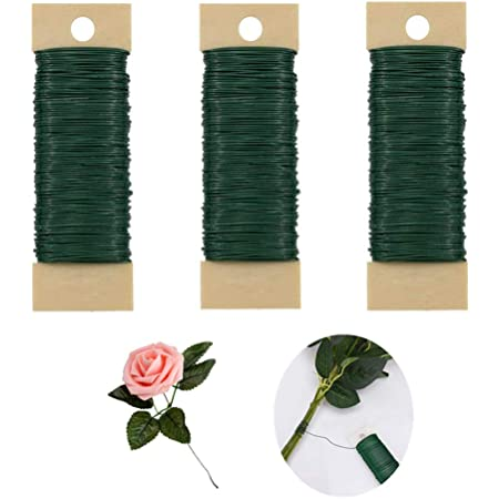 Garland and Floral Flower Arrangements Christmas Wreaths Tree LOAVER 4 Pack 114 Yards 22 Gauge Green Flexible Paddle Wire for Crafts