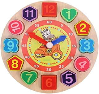 Wooden Teaching Time Clock Toys Shape Sorting Games Learning Number Tools Lacing Beads Education puzzle Toy