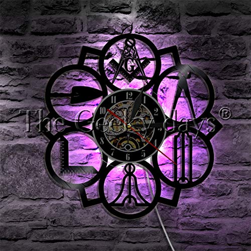 1 Reloj de Pared de Disco de Vinilo con Logotipo de albañil Libre masónico Vintage Wall Artist decoración del hogar Moderno Reloj de Larga duración